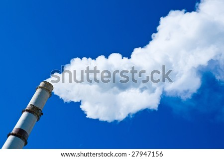 Smoke from a pipe - stock photo