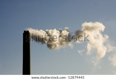 Smoke from Energy Plant on Blue Sky
