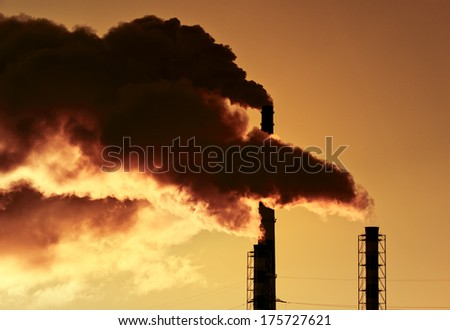 Smoke from pipes on sunset background.
