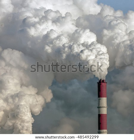 Smoke from the pipes of heat station - Moscow.