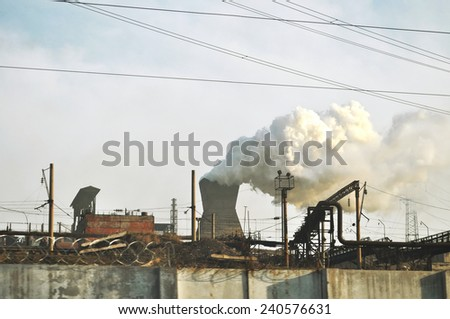 smoke from the tube - stock photo