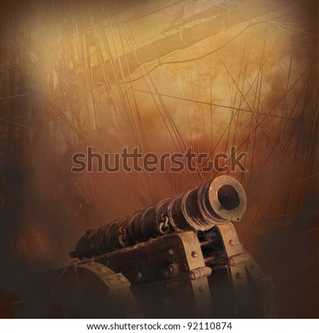 Smoke, guns, flames, old sailing ships, adventure, exploration in form of wallpaper. - stock photo