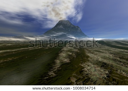 Smoke in the sky, 3D rendering, a volcanic landscape, grass on the ground and a blue background.