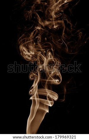 Smoke isolated on black - stock photo