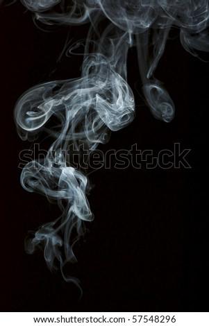 Smoke isolated over black background - stock photo