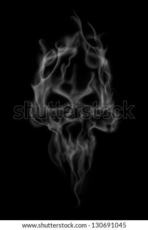 smoke makes the shape of spooky skull - stock photo