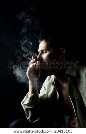 Smoke man - stock photo