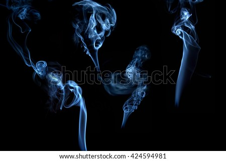 Smoke on a black background, a series of mysterious mystical images