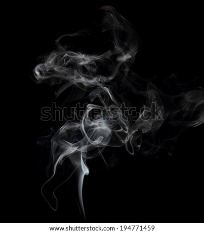 Smoke on black background close up - stock photo
