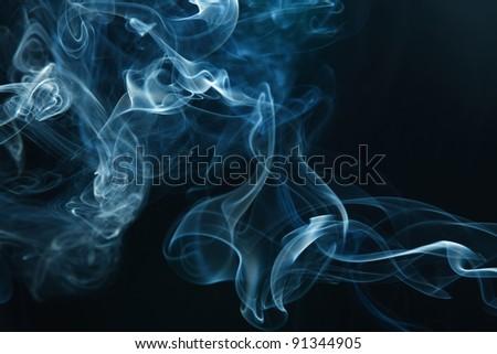 smoke on the black background - stock photo