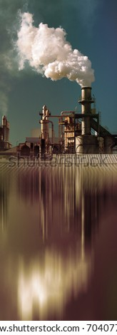 Smoke Pipe Factory vertical Background - stock photo