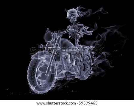 T-Shirt illustration of a skeleton riding a motorcycle through ...