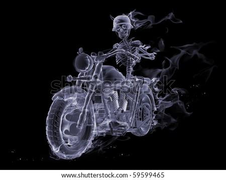 Smoke skeleton riding a motorcycle - stock photo