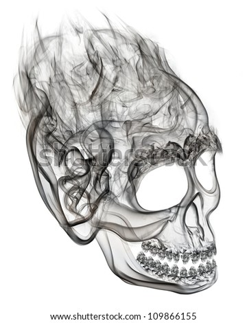 Smoke skull as a symbol of death. - stock photo