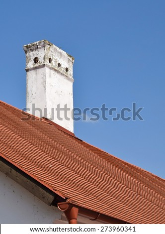 Smoke stack on the roof of an old building