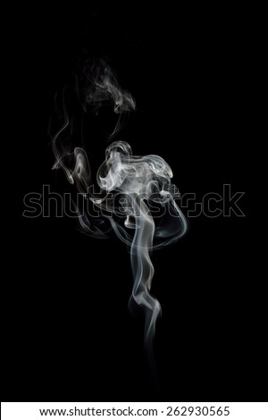 Smoke swirl on black background - stock photo
