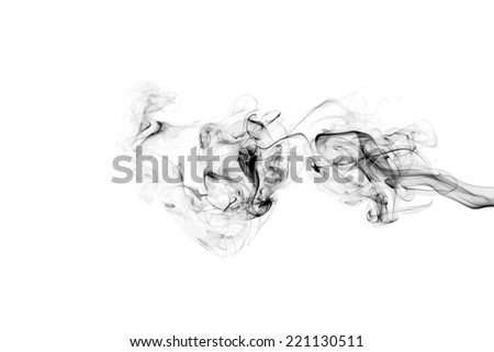 Smoke trail on white background - stock photo