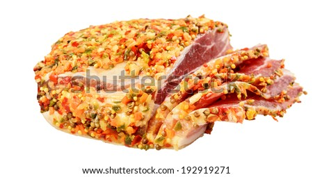 Smoked bacon cut into pieces. Isolated on white background.