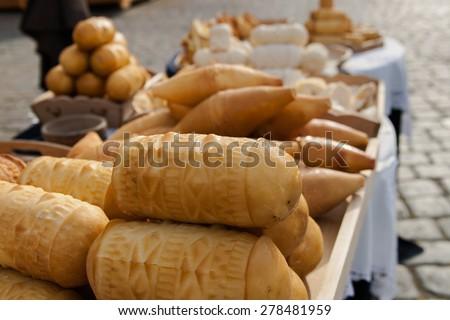 smoked cheese on trade - stock photo