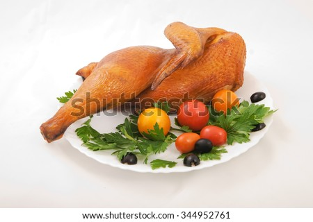 smoked chicken on a plate with tomatoes, olives and parsley