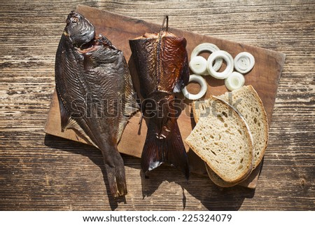 smoked fish salmon and flounder delicious and gourmet food - stock photo