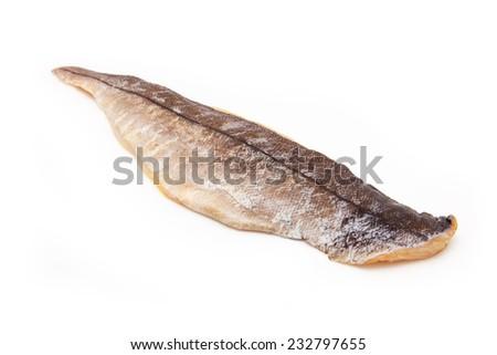 Smoked Haddock isolated on a white studio background. - stock photo