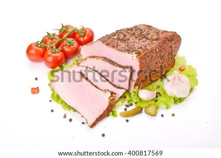 smoked meat  - stock photo