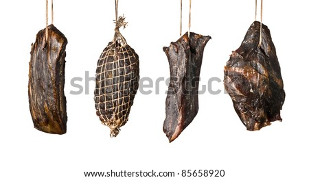 Smoked meat products isolated on white background. - stock photo