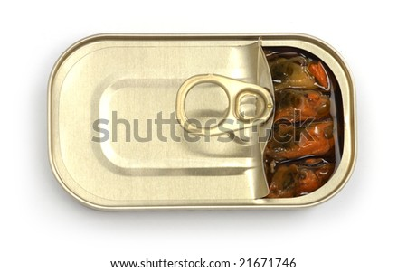 Smoked mussels inside a sardine can - stock photo