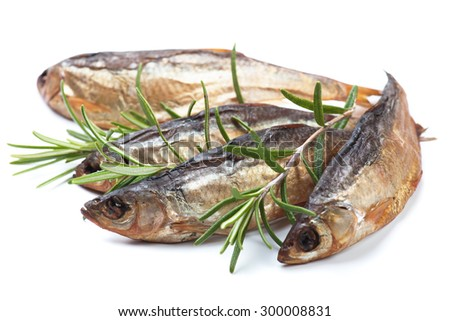 Smoked or dried fish isolated on white background - stock photo