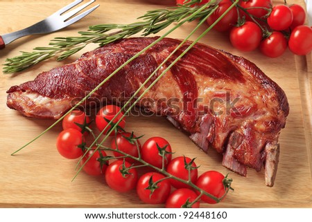Smoked pork spare ribs and other ingredients