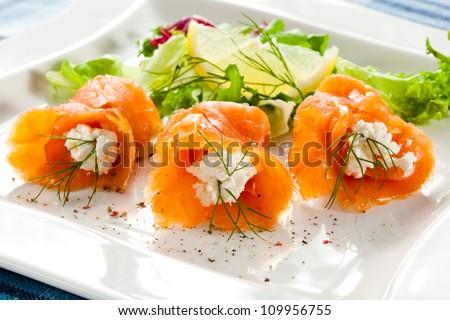 Smoked salmon - stock photo