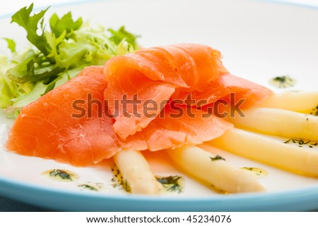 Smoked salmon and asparagus