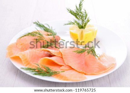 smoked salmon and lemon - stock photo