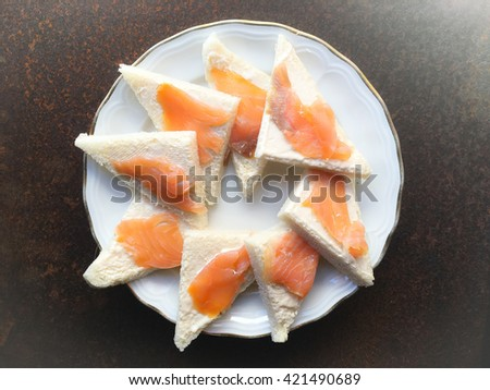 Smoked salmon canapes - stock photo