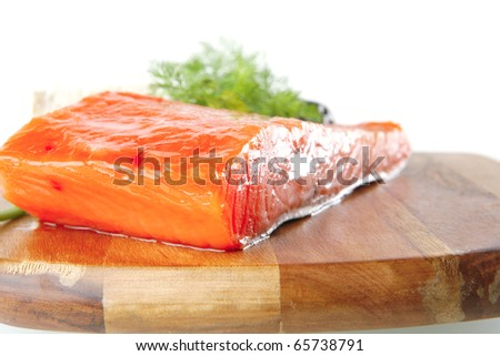 smoked salmon chunk with olives and white cheese - stock photo