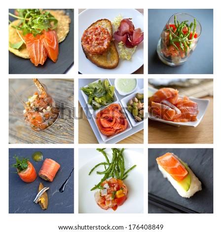 Smoked salmon collage - stock photo