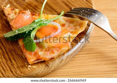 smoked salmon pizza - stock photo
