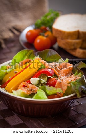 Smoked salmon salad, healthy food