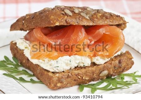 Smoked Salmon Sandwich with cream cheese - stock photo