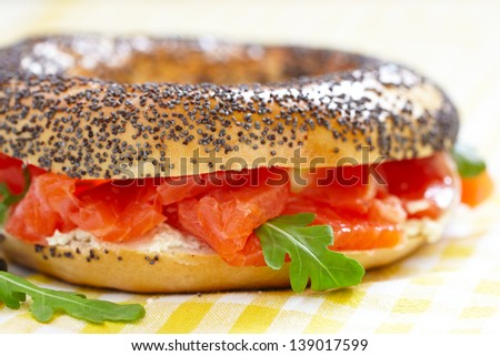Smoked Salmon Sandwich with cream cheese on bagel - stock photo