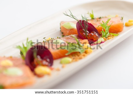Smoked salmon with herbs, beetroot, faked salmon roe (sauce cooked by molecular gastronomy technic) garnished with mago sauce and wasabi mayo