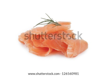 Smoked salmon with parsley on top - stock photo