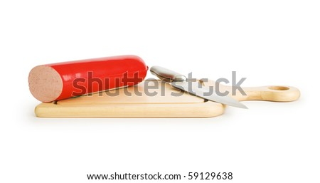 Smoked sausage isolated on the white background