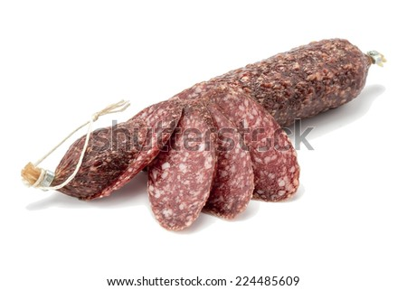 smoked sausage product with spices, isolated on a white background - stock photo