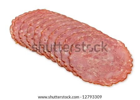 Smoked sausage slice isolated on white background