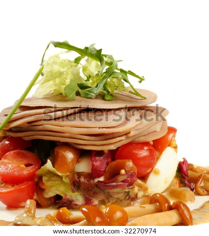 Smoked tongue served with mushrooms and tomatos isolated on white - stock photo