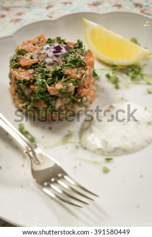 Smoked Trout and Quinoa Terrine with a Lemon and Dill Sauce, with a Lemon Wedge on a White Plate - stock photo
