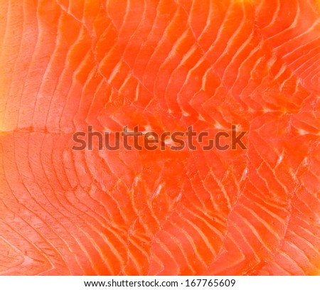 Smoked trout fillet slices as background, close up