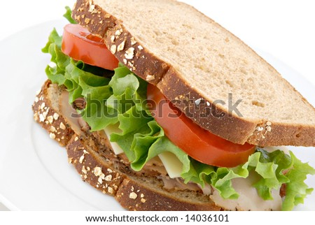 Smoked turkey sandwich on whole wheat bread. - stock photo